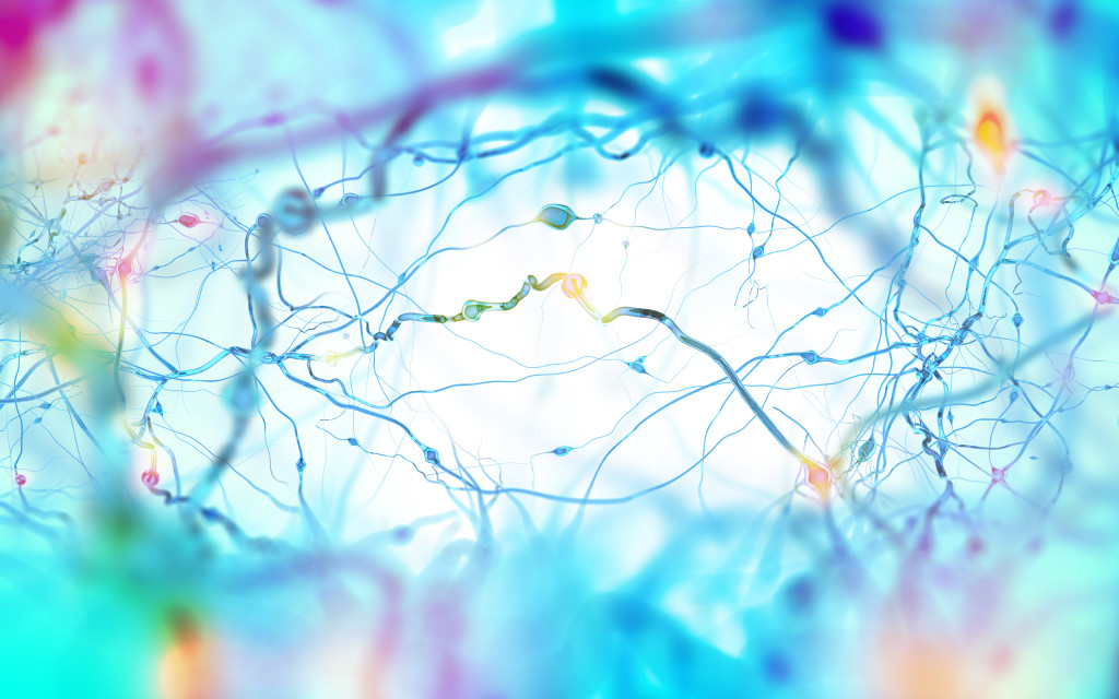 Neuron cells network, concept of neurons and nervous system 3D i